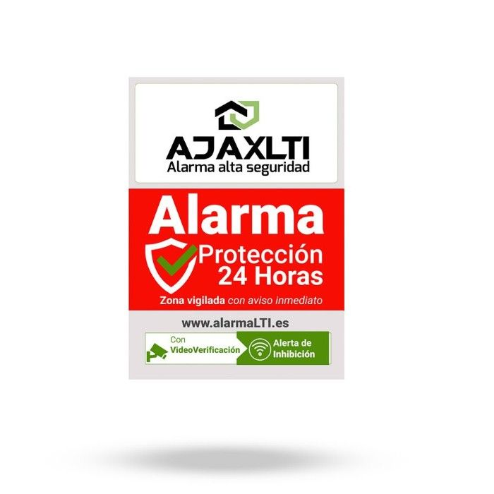 Mini Cartel disuasorio de Alarma Ajax tamaño A7 74×105 mm en vinilo